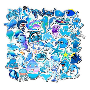 Vinyl Marine Animals Stickers Pack 49 Pcs Blue Marine Animals Decals for Laptop Ipad Car Luggage Water Bottle Helmet Truck Boys