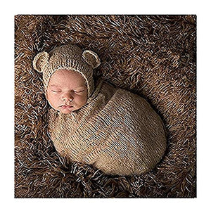 Lppgrace Newborn Baby Photography Prop Boy Girl Crochet Costume Outfits Bear Hat Sleeping Bag Brown