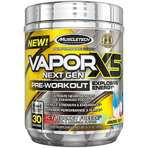 Muscletech Vapor X5 Next Gen Pre Workout Powder, Explosive Energy Supplement, Icy Rocket Freeze, 30 Servings (9.6Oz)