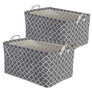 "DII Cotton/Polyester Cube Laundry Basket, Perfect In Your Bedroom, Nursery, Dorm, Closet, 12.5 x 18 x 10.5"", XL Set of 2 - Gray Lattice"