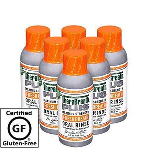 Therabreath Plus Oral Rinse Maximum-Strength Oral Rinse Stops Morning Breath - 3 Ounces / Six-Pack