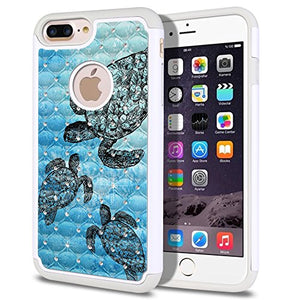 FINCIBO Case Compatible with Apple iPhone 7 Plus/ 8 Plus, Dual Layer Hybrid Protector Case Cover TPU Rhinestone Bling for iPhone 7 Plus / 8 Plus (NOT FIT iPhone 7/8) - Ocean Sea Turtle