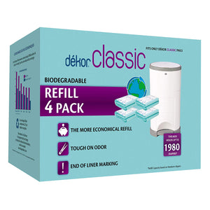 Dekor Classic Diaper Pail Biodegradable Refills | Most Economical Refill System | 4 Count