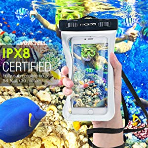 Moko Waterproof Phone Pouch, Underwater Waterproof Case - White