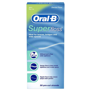 Oral-B Super Floss Mint Dental Floss Pre-Cut Strands 50 Count