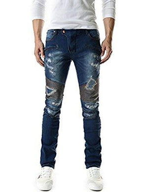 TheLees Mens Slim Zipper Point Denim Jeans Blue X-Large