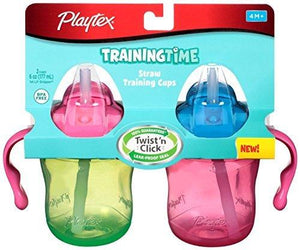 Playtex Training Time Pink And Green Straw Cups, 6 Ounce, 2 Cups