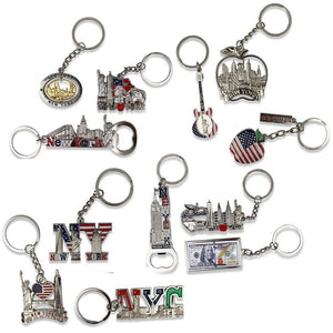 Souvenircollect 12 Nyc Keychain-Empire State Freedom Tower Statue Of Liberty Usa Flag Ny Cab & More