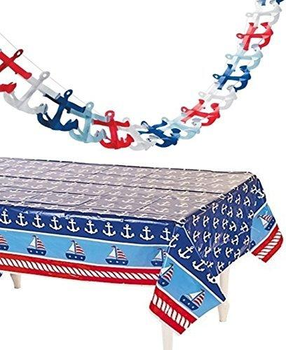 Fun Express Nautical Tablecloth And Tissue Anchor Garland Set - Nautical Party Decorations
