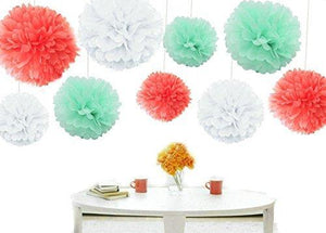 Kubert Party Tissue Paper Pom-Poms Flower Ball Of 8 10 14-Inch 18 Pieces