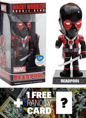 Deadpool (F.Y.E.) Marvel Universe X Wacky Wobblers Series + 1 Free Marvel Trading Card Bundle (77563)