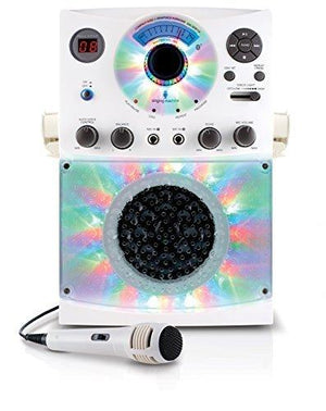 Singing Machine Sml385Btw Top Loading Cdg Karaoke System With Bluetooth Sound And Disco Light -White
