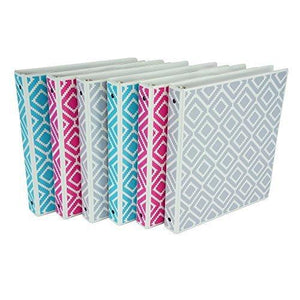 Samsill Fashion Print 3 Ring Binder Digi Diamond Design 1 Inch - Turquoise Pink Silver - 6 Pack