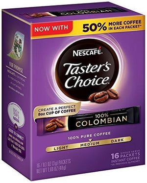 Nescafe Taster'S Choice Instant Coffee, Colombian, 0.1 Ounce, 16 Count (Pack Of 8)