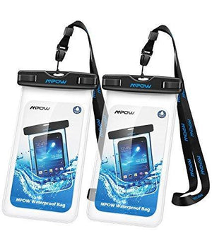 "Mpow 097 Universal IPX8 Waterproof Phone Bag Compatible for Upto 6.0"" Black+Black [2 Pack]"