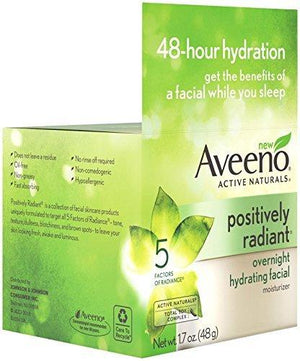 Aveeno Active Naturals Positively Radiant Overnight Hydrating Facial Moisturizer 1.7 Oz