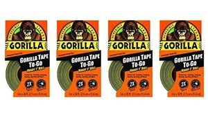 "Gorilla 6100101-4 Duct Tape To-Go (4 Pack), 1"" X 10 Yd., Black"