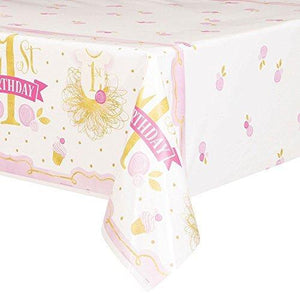 "Unique Pink And Gold Girls 1St Birthday Plastic Tablecloth, 84"" X 54"""