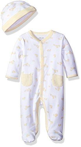 Little Me Baby Unisex 2 Piece Footie And Cap Set, White Print, Newborn