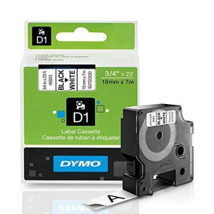 Dymo Standard D1 Labeling Tape Black Print On White Tape 3/4'' W X 23' L 1 Cartridge (45803)