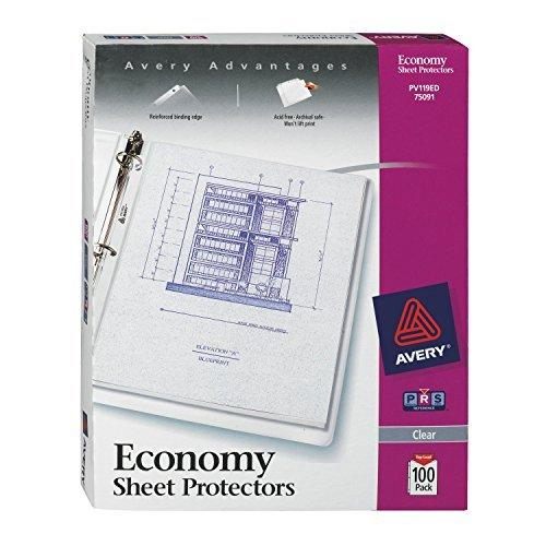 Avery Economy Clear Sheet Protectors, Acid Free, Box Of 100 (75091)