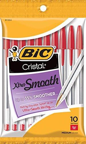 Bic Cristal Xtra Smooth Ball Pen, Medium Point (1.0 Mm), Red, 10-Count
