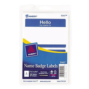 Avery Self-Adhesive Name Badges, Hello My Name Is, Blue, Pack Of 100