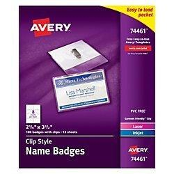 Avery Garment Friendly Clip Style Top-Loading Name Badges, 2.25 X 3.5 Inches, White, Box Of 100 (74461)
