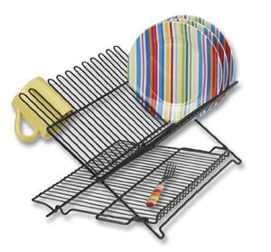 Better Houseware 1489 Large Folding Dish Rack, Black