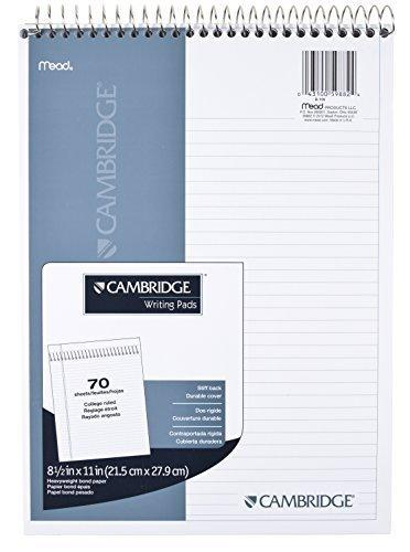 Mead Cambridge Notebook, Wirebound Notepad, Stiff-Back, 8.5 X 11 Inches, White (59882)