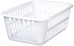 Sterilite Medium Plastic Basket, White, 1-Pack