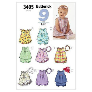 Butterick Patterns Infants Dress top Romper, Panties, Hat Size NB S M