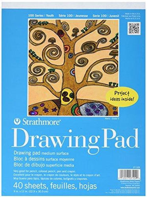 Strathmore Kids Drawing Tape Bound Paper Pad 9 X 12 Inches (St27-109-1), 40 Sheets/ Pack