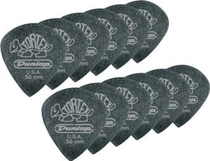Jim Dunlop 482P.50 Tortex Pitch Black Jazz Iii, Black, .50Mm, 12/Player'S Pack