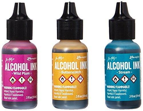 Ranger Adirondack Alcohol Ink 1/2-Ounce, 3-Pack, Nature Walk, Wild Plum/Buttrscotch/Stream
