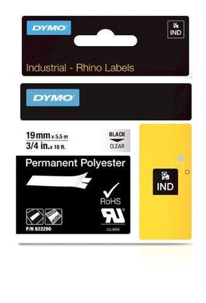 Dymo Rhinopro 3 Permanent Adhesive Polyester Label Tape - 3/4-Inch - 18-Foot Cassette - Clear