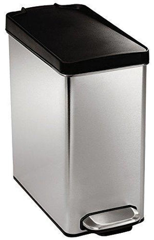 Simplehuman 10 Liter / 2.6 Gallon Stainless Steel Bathroom Slim Profile Trash Can With Plastic Lid