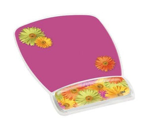 3M Precise Mouse Pad With Gel Wrist Rest, Daisy Design (Mw308Ds)