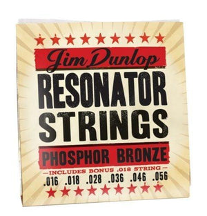 Jim Dunlop Resonator Strings, Phosphor Bronze, Medium, .016-.056, 6 Strings/Set