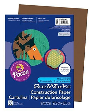 "Pacon Sunworks Construction Paper, 9"" X 12"", 50-Count, Dark Brown (6803)"