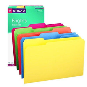 Smead File Folder - 1/3-Cut Tab - Legal Size - Assorted Colors - 100 Per Box (16943)
