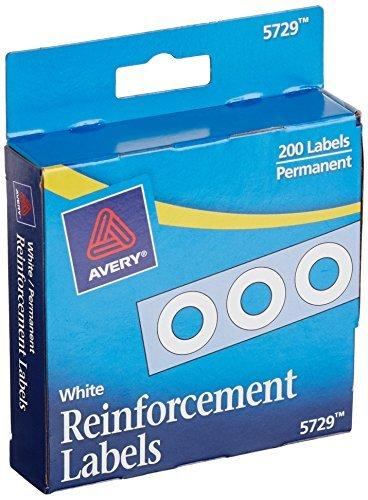 Avery White Self-Adhesive Reinforcement Labels - 0.25 Inch Round - 200