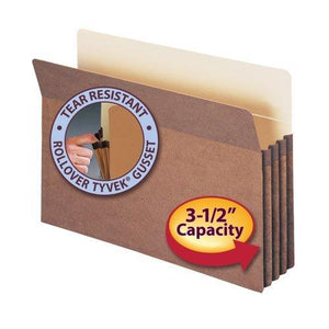 "Smead File Pocket - Straight-Cut Tab - 3-1/2"" Expansion - Legal Size - Redrope - 25 Per Box (74224)"