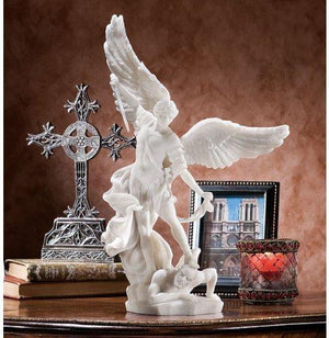 Design Toscano Bonded Marble St. Michael The Archangel Angel Statue