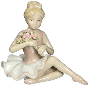 Cosmos 96535 Fine Porcelain Ballerina In Pink Dress Figurine - 4-1/2-Inch