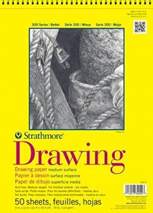 "Strathmore 300 Series Drawing Paper, Medium Surface - Wire Bound (11""), 50 Sheet"