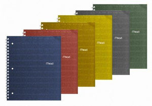 "Mead Recycled 1-Subject Notebook - College Ruled - 11X8.5"" - 80 Sheets - Assorted Colors- 1 Notebook"