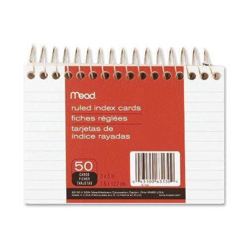 Mead Wirebound Ruled Index Cards, 3 X 5 Inches (63130)
