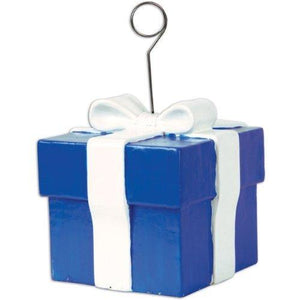Beistle Blue Gift Box Photo/Balloon Holder Party Accessory (1 Count)