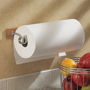 Interdesign Formbu Paper Towel Holder For Kitchen - Wall Mount, Bamboo/Brushed Stainless Steel